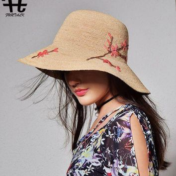 VONE05D FURTALK imported raffia summer hat for women straw hat for beach sun hat travel bucket hat panama