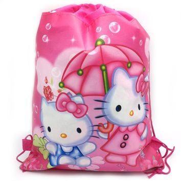 1PCS Hello Kitty Theme Backpack Birthday Events Party Decorations Drawstring Gifts Bags Baby Shower Girls Kids Favors Mochila