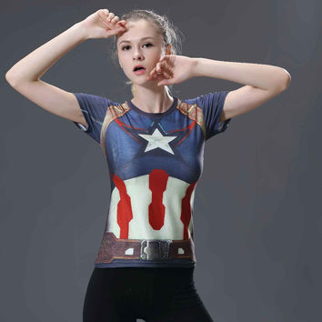 HOT WOMEN T-SHIRT BODYS ARMOUR Compression CAPTAIN AMERICA /SUPERMAN COMPRESSION T SHIRT GIRL UNDER FITNESS TIGHTS TOPS CLOTHING