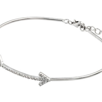 .925 Sterling Silver Rhodium Plated Arrow Clear Cubic Zirconia Bracelet: SOD