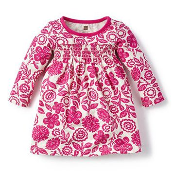 Infant Girl's Tea Collection 'Potosi' Smocked Long Sleeve Dress,