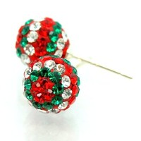 Pro Jewelry .925 Sterling Silver Christmas Disco Ball Stud Earrings w/ Red White Green Crystal Pave