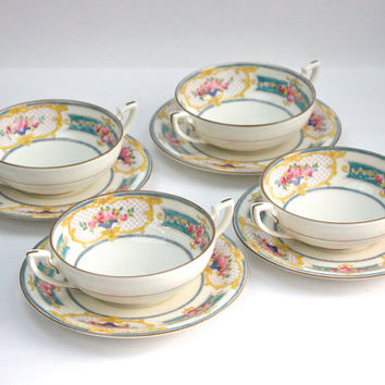 Royal Worcester Cream Soup Bowl and Saucer / SET of 4