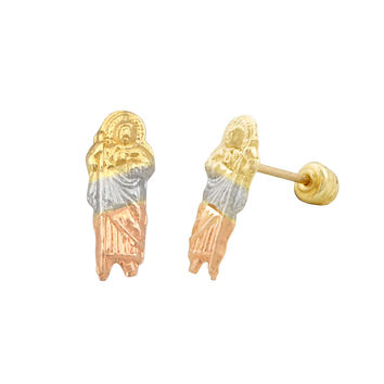 10k Tri Color Gold Guadalupe Stud Earrings with Screwbacks