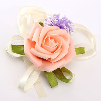 Fashion Artificial Brides Bridesmaid Wedding Bouquet Hand Flowers Wrist Corsages = 1930126404