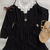 Sweet Nothings Cold Shoulder Romper - Black