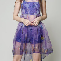 Purple Sheer Mesh Butterfly Print Sleeveless High Low Dress