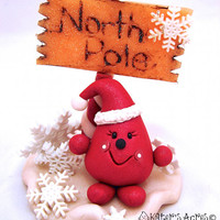 North Pole Santa Parker StoryBook Scene - Twelve Days of Christmas Polymer Clay Figurine
