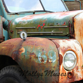 Old Mack Truck Art Photograph - Garage Art Decor Rust Green