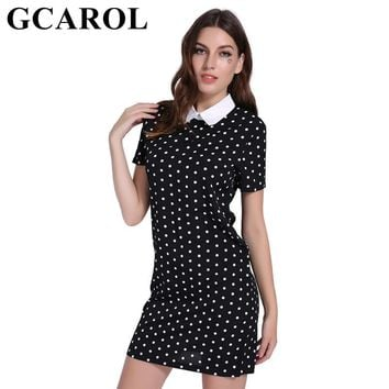 GCAROL 2018 New Collection Women Polka Dot Chiffon Dress High Quality Peter Pan Collar Vintage Sweet Above Kneel Dress