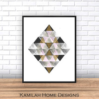 Geometric Print, Printable Art, Geometric Art, Geometric Wall Art, Abstract Art Print, Digital Download