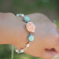 Peach Rose and Pastel Green Roses with Ivory Swarovski Pearls Bracelet