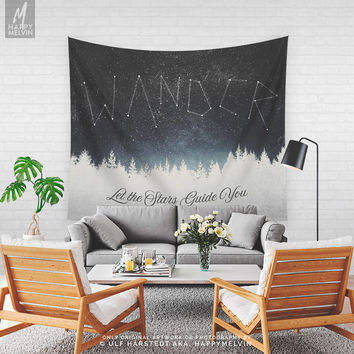 Wanderlust Tapestry, Nature Art Wall Tapestry, Adventure Wall Hanging, Forest Wall Decor, Bohemian Home, Dorm Room, Original, Large, Gifts