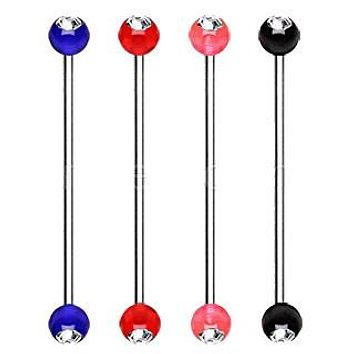 316L Surgical Steel Industrial Barbell with UV Acrylic Gemmed Ball