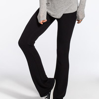 Full Tilt Essential Womens Cozy Flare Pants Black  In Sizes