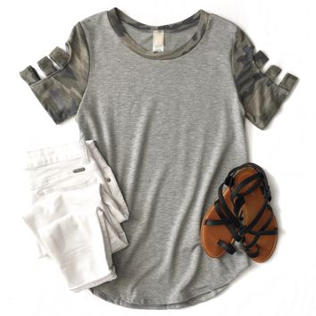 Gray Camo Cutout Sleeve Top