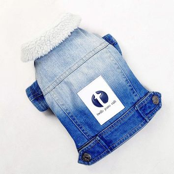 Dog Clothes Jeans Wear Autumn And Winter Warm Cat Coat Denim Clothing Jacket Pet Clothes For Yorkshire Chihuahua Teddy Dogs