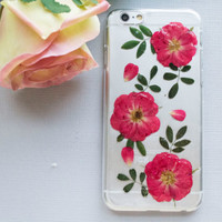 iPhone 6 Case, iPhone 5s Case, iPhone 5c Case, Samsung Galaxy S5 Case, S4 Case, iPod Touch 5 Case, 6 Plus Case, Red Floral Flower Phone Case