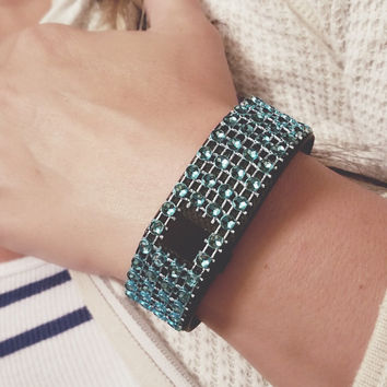Blue Fit Bling, CHARGE HR, Fitbit Bling, Fitbit Cover, Fitbit Stylish Wrap, Fitbit Rhinestone, Bedazzled Fitbit, Fitbit Bracelet