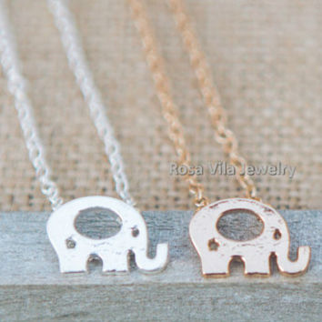 Elephant Necklace - 2 colors available (gold and silver) - dainty, cute and lovely pendant jewelry; animal necklace
