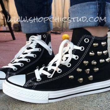 CREYONB Studded Chuck Taylor ANY SIZE Converse All Stars Hi Top Black