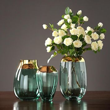 Modern luxury glass vases Grey/green terrarium glass containers