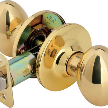 Legend 931120 Egg Style Door Knob Privacy Bed and Bath Lockset US3 Polished Brass Finish