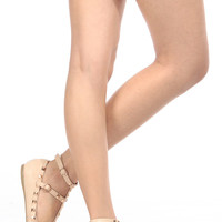 Beige Faux Leather Cage Studded Ankle Strap Flats