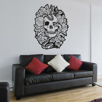 Vinyl Wall Decal Sticker Skull Snake and Roses #OS_AA1447