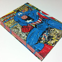 Captain America & Spider-Man Comic Book Covers Fabric - Handmade Coptic Stitched Journal Notebook