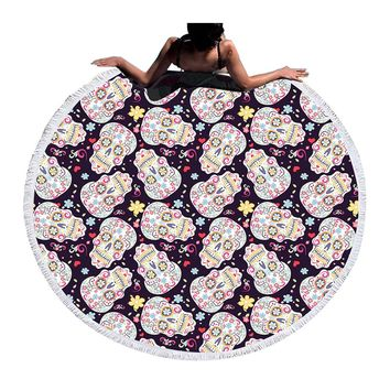 BeddingOutlet Summer Round Beach Towel Bath Towel Large for Adults Kids Toalla Sugar Skull Tassel Tapestry