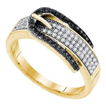 10kt Yellow Gold Womens Round Black Color Enhanced Diamond Belt Buckle Band Ring 1/4 Cttw