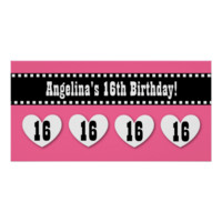 16th Birthday Pink Black Hearts Banner Custom V16H Posters