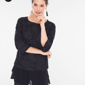 Chico's Embroidered Layer Top
