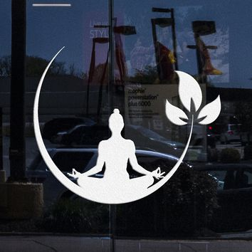 Window and Wall Decal Yoga Meditation Room Buddhist Zen Stickers Unique Gift (ig4132w)