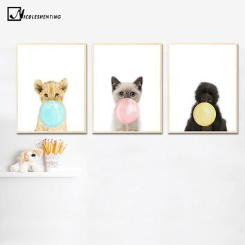 Kawaii Animal Cat Lion Bubbles Poster Prints Wall Art Canvas Painting Nursery Wall Picture Kids Room Decor Nordic Decoration