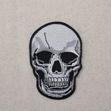 Large Human Skull - Gray/Black -  Iron on Applique/Embroidered Patch