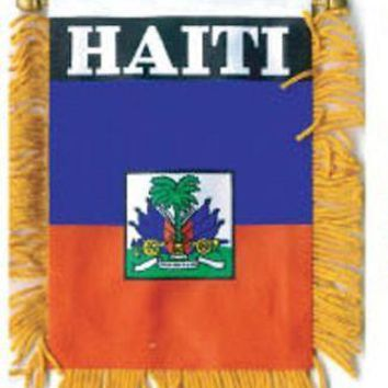 HAITI MINI BANNER FLAG with BRASS STAFF & SUCTION CUP