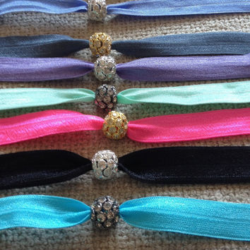 Custom Pave Crystal Ball Elastic Hair Ties (and Bracelets)
