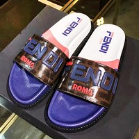 Fendi Fashion New Letter Print High Quality Leisure Slippers Shoes Women Blue