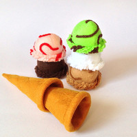 Felt food Ice cream sugar cone set eco friendly children's pretend play food for toy kitchen