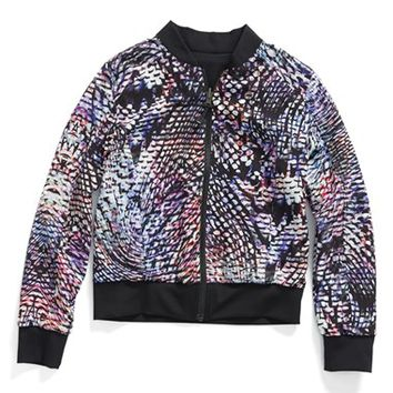 Girl's Zella Girl 'Street to Street' Reversible Zip Front Bomber Jacket,