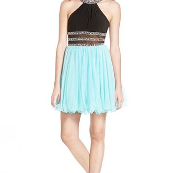 Junior Women's Blondie Nites Embellished Halter Skater Dress,