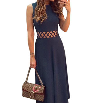 Navy Blue Caged Waist Fit and Flare Maxi Dress 2017 modest summer holiday beach women's fashion casual dresses