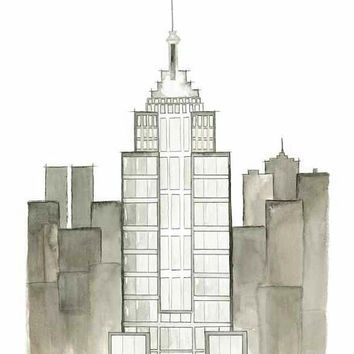 Empire State of Mind - Print of original watercolor & pen illustration by Lexi Rajkowski, home decor, empire state building, office decor