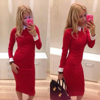 Sexy Women Slim Long Sleeve Cocktail Clubwear Evening Party Bodycon Dress = 1956678788
