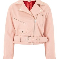 Pink Leather Biker Jacket - Trend: Florals - Clothing