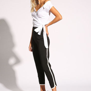 Black Side Stripe High Rise Pants