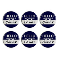 Conor Hello My Name Is Plastic Resin Button Set of 6