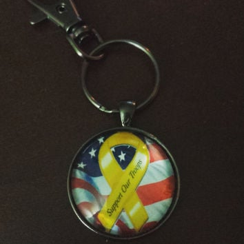 American flag yellow ribbon support our troops keychain